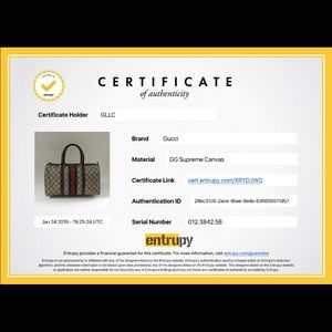 Handbags - Authenticity certificate